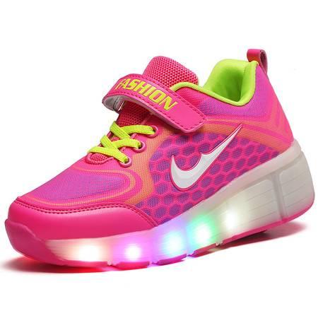 夏季LED亮灯发光网面透气暴走鞋男女童运动轮滑鞋儿童带轮子跑鞋
