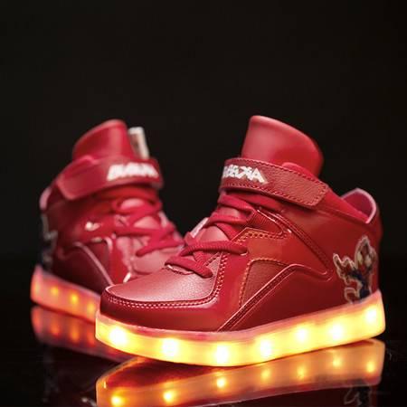童鞋七彩儿童发光鞋USB充电男女童夜光闪灯鞋LED发亮鞋蜘蛛侠