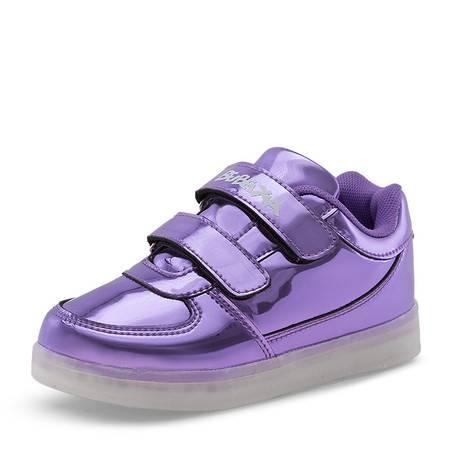 春秋儿童荧光LED发光童鞋女童USB充电夜光闪光鞋男童运动带亮灯鞋