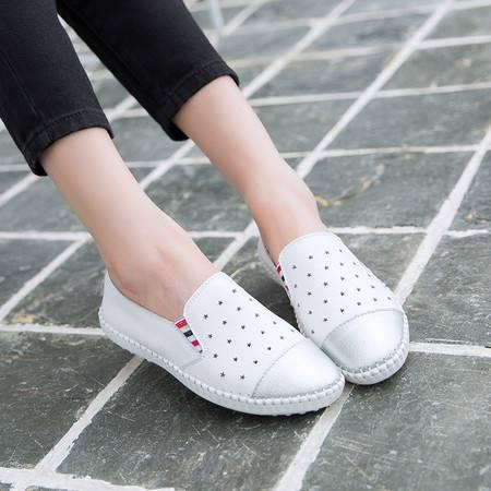 2016夏秋季懒人脚蹬鞋子镂空透气小白平底学生乐福鞋真皮女低帮鞋