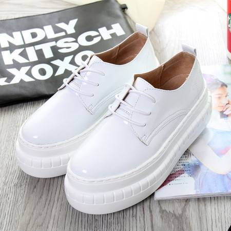 女鞋春款 高跟乐福鞋女 厚底 系带圆头松糕鞋学生休闲韩版单鞋