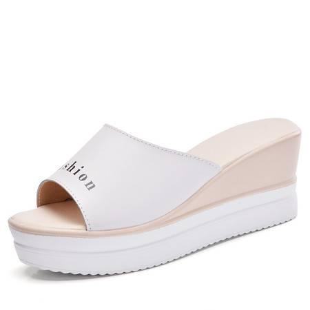 夏季时尚女真皮坡跟厚底松糕拖鞋防滑休闲中跟凉拖女鞋