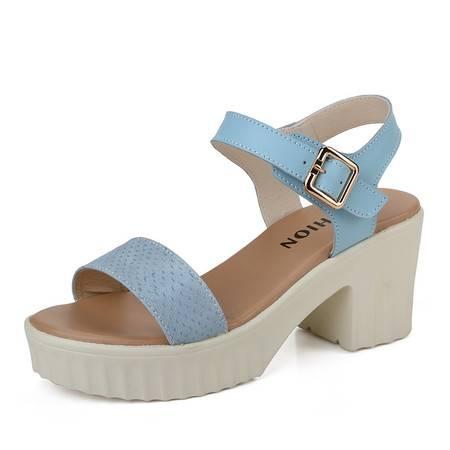 新款女鞋2016女士高跟鞋粗跟女凉鞋女时尚百搭中跟女鞋一字带凉鞋
