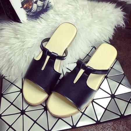 2016夏季防滑舒适休闲女鞋平底凉拖鞋女夏坡跟软底一字拖沙滩凉鞋