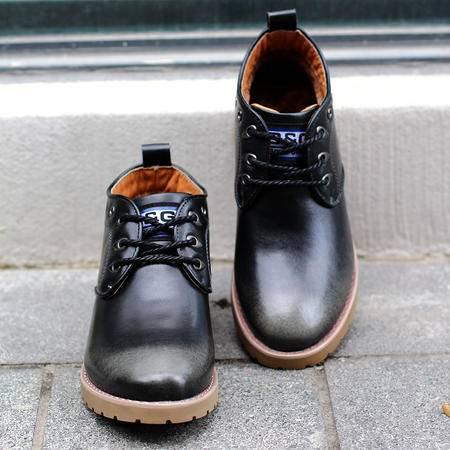 2016百搭款高帮男鞋真皮男鞋单鞋 男士商务休闲鞋 软底软面男皮鞋