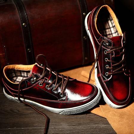 板鞋男真皮学生旅游鞋 正品防水耐磨平板鞋男春季休闲皮鞋系带男