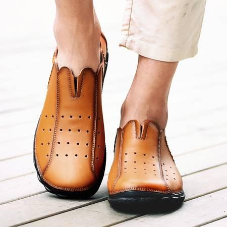 2016夏季真皮镂空男鞋透气圆头懒人豆豆鞋英伦套脚牛皮驾车休闲鞋