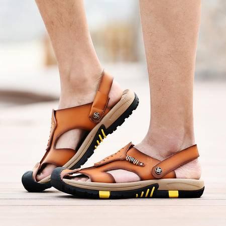 新款男凉鞋夏季沙滩鞋真皮男士凉鞋韩版包头凉鞋男户外休闲皮凉鞋