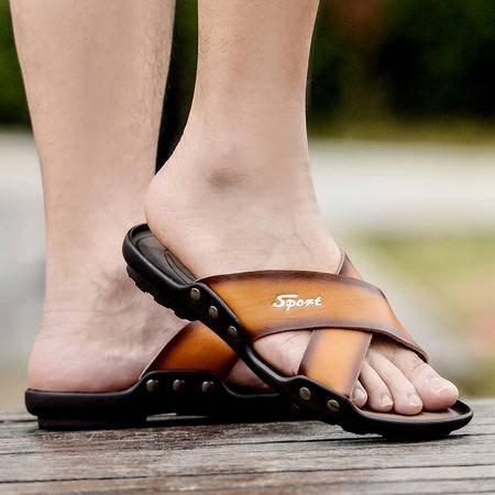 夏季凉鞋男沙滩鞋露趾透气凉拖平底脚凉鞋男士休闲鞋商务潮鞋