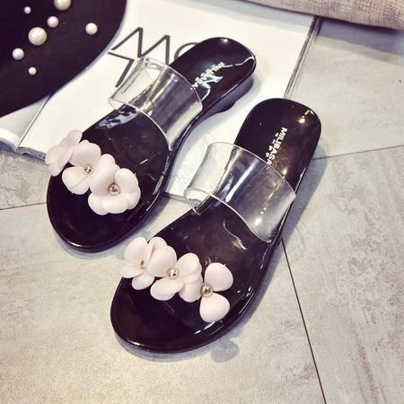 夏季新品韩版甜美山茶花凉鞋女露趾简约百搭平底沙滩鞋时尚凉拖鞋