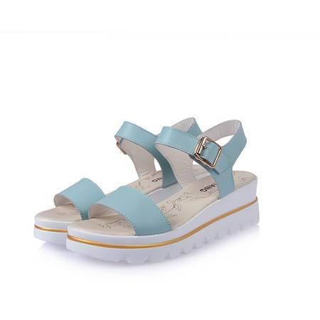 真皮凉鞋 女新款2016女凉鞋上新坡跟女式凉鞋松糕鞋厚底女鞋 夏季