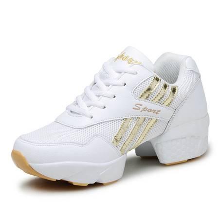 新款网布透气舞蹈鞋广场舞女式夏季白色现代舞增高软底跳舞鞋批发