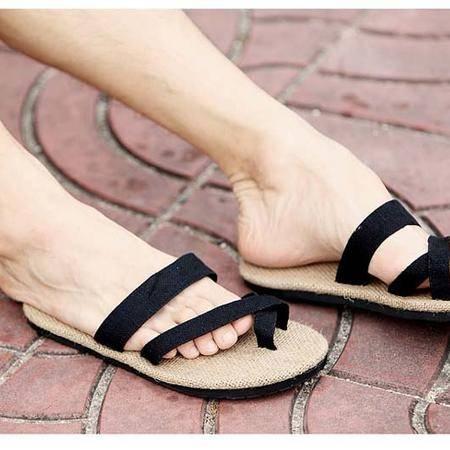 中国风原创夏季男士沙滩鞋日系复古情侣亚麻拖鞋套趾罗马凉鞋男潮