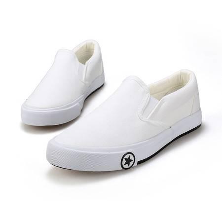 夏季新款帆布鞋男韩版透气男士休闲鞋情侣乐福鞋不系带懒人蹬鞋子