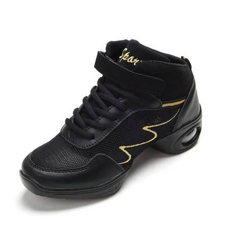 真皮广场舞蹈鞋现代舞增高软底高帮爵士舞体操跳舞鞋