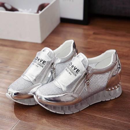 春夏季韩国时尚流行新款网面运动鞋女深口厚底透气松糕单鞋低帮内