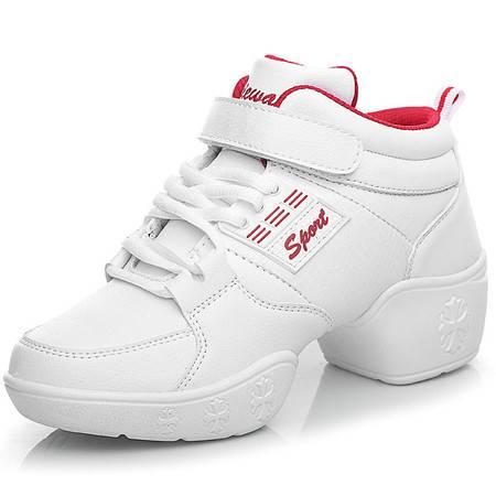 真皮舞蹈鞋白黑现代广场舞跳舞鞋软底健身运动休闲健美操新款女鞋