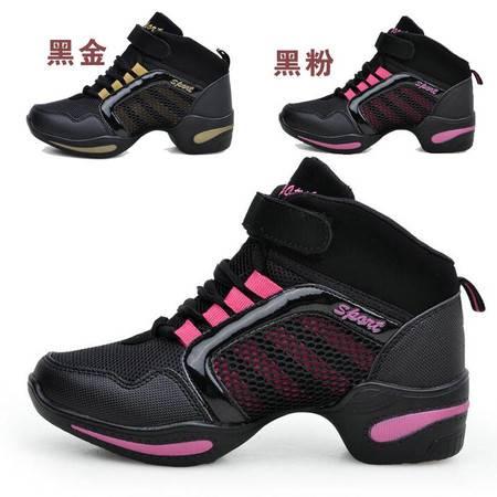 新款现代广场舞跳舞鞋 女士 网面透气增高 软底专业运动舞蹈鞋