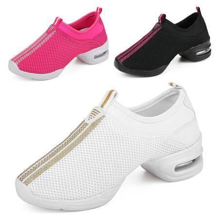网面舞蹈鞋 增高跳舞鞋 女士软底现代广场舞 健身鞋正品运动