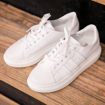 2016新款女鞋韩国夏款小白鞋头层牛皮增高真皮系带韩版平底鞋子