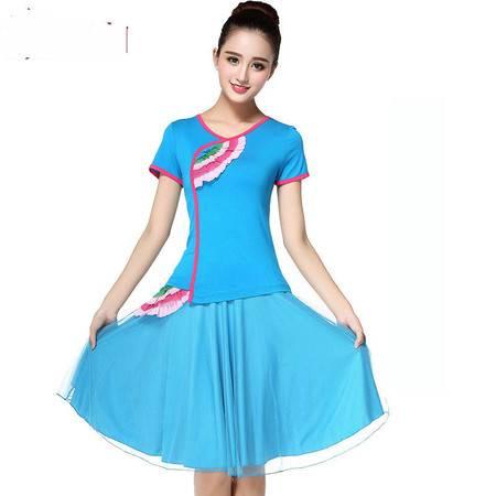 媞伽广场舞服装套装夏季新款短袖裙裤短袖牛奶丝舞蹈服611/621