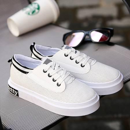 2016新款韩版透气网面小白鞋明星同款跑步鞋耐磨厚底运动休闲女鞋