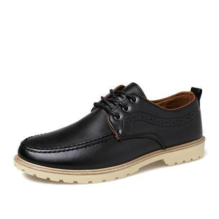 春夏季英伦风男士休闲鞋青少年男鞋子黑色皮鞋男透气尖头增高潮鞋
