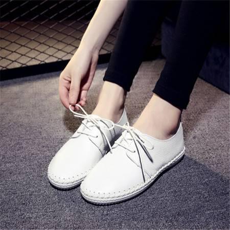 2016夏季新品韩版真皮小白鞋平底单鞋女透气系带小清新女鞋乐福鞋