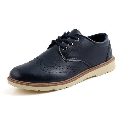 潮流小皮鞋男潮布洛克男鞋板鞋男士高邦英伦休闲鞋韩版内增高短靴
