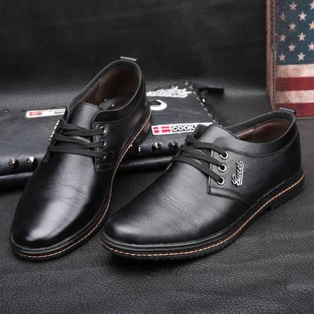 春季新款男士商务休闲皮鞋系带英伦鞋牛仔裤小西裤搭配的男鞋子黑