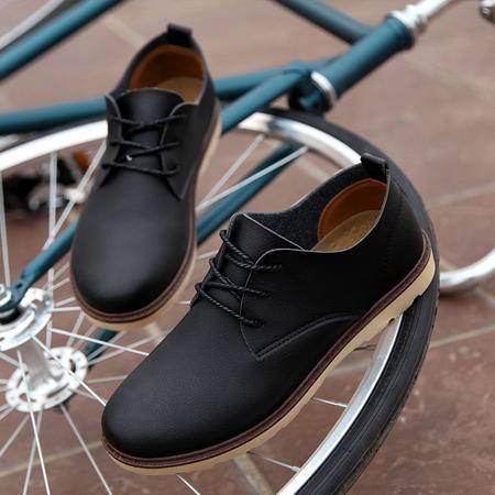 2016夏季新款英伦男士休闲鞋系带青年商务皮鞋时尚低帮男鞋潮鞋子