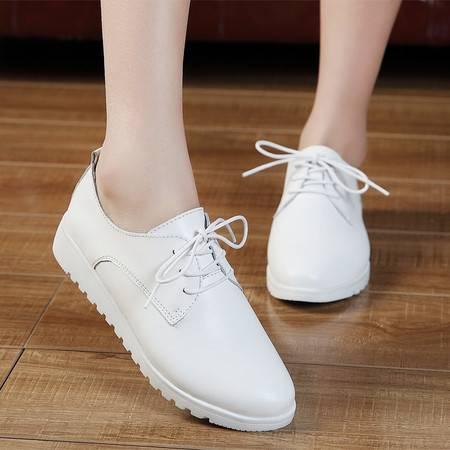 春秋新款真皮板鞋小白鞋女夏休闲平跟单鞋平底皮鞋白色英伦风女鞋
