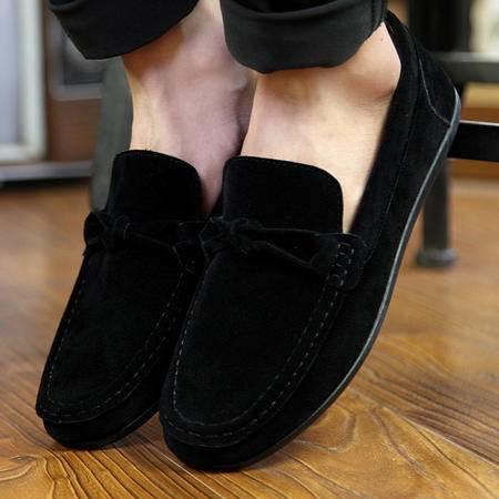 新款秋季豆豆鞋男士休闲皮鞋潮流磨砂豆豆鞋一脚蹬驾车鞋