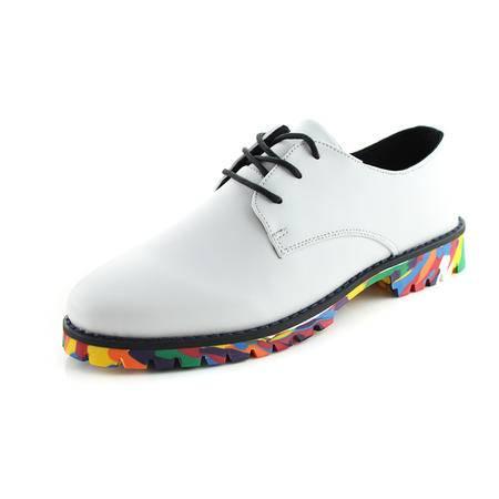 春秋季彩底男士休闲鞋英伦风潮流小皮鞋个性板鞋青年时尚潮男鞋子