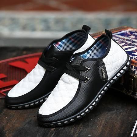 2016春夏季新款男士休闲鞋黑白色透气男鞋青年豆豆鞋韩版皮鞋潮流