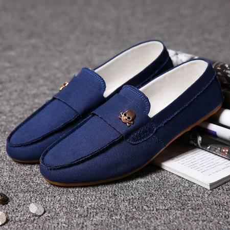 夏季韩版休闲鞋日常潮流行男鞋低帮驾车鞋懒人学生鞋帆布豆豆鞋