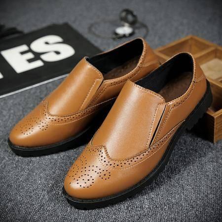 春季镂空小皮鞋男休闲鞋套脚懒人鞋子夏天透气潮鞋内增高男鞋6cm