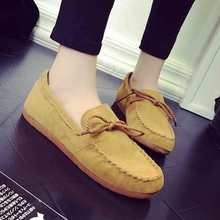 2016新款磨砂女豆豆鞋平底女平跟单鞋潮包子鞋