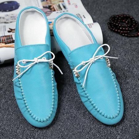 夏季透气真皮鞋英伦潮鞋男士凉拖鞋半拖鞋休闲凉鞋豆豆托鞋