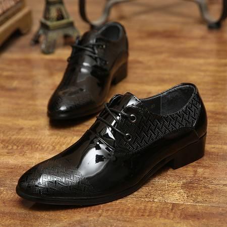 春季尖头皮鞋男真皮商务正装男士皮鞋休闲英伦男鞋