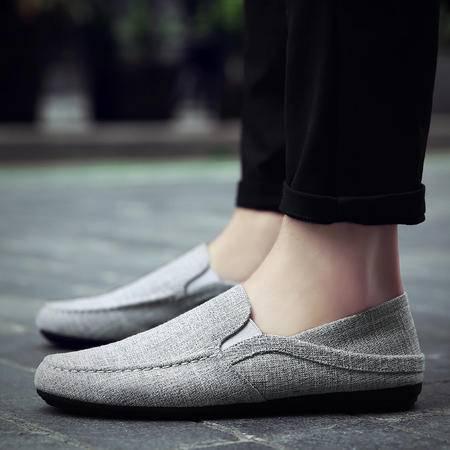 脚蹬懒人蹬夏季透气帆布男士休闲豆豆鞋潮鞋夏天韩版潮流男鞋子一