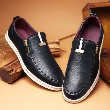 春夏季2016新款韩版青年休闲皮鞋黑色英伦套脚单鞋年潮男鞋子