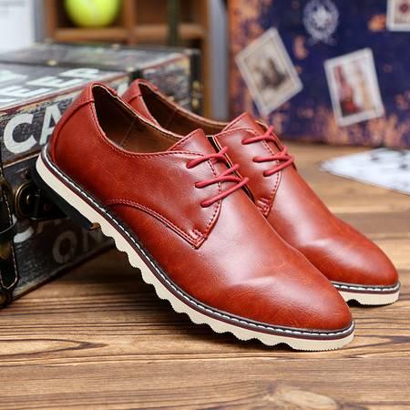 夏季男低帮商务休闲皮鞋韩版英伦百搭简约系带潮鞋红色尖头真皮鞋
