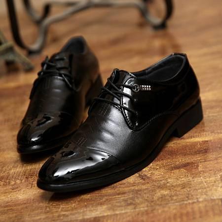 夏季英伦风休闲皮鞋系带商务尖头鞋男士休闲鞋潮男鞋