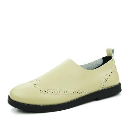 2016春夏新款男士布洛克小皮鞋英伦纯色复古平跟套脚休闲鞋