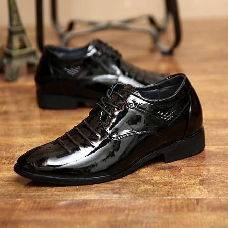 男士尖头皮鞋英伦风春季潮流内增高漆皮男鞋休闲鞋商务正装德比鞋
