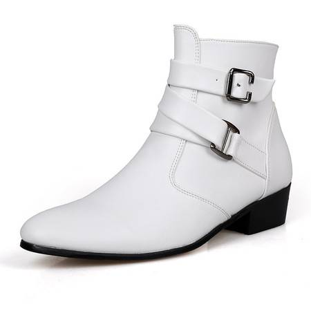 英伦高帮鞋男士短靴潮鞋尖头皮鞋韩版潮流男鞋黑色磨砂高跟男靴子