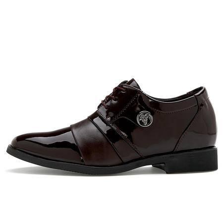 万度夏季男鞋男士皮鞋男 真皮商务正装英伦尖头套脚镂空婚鞋子 男