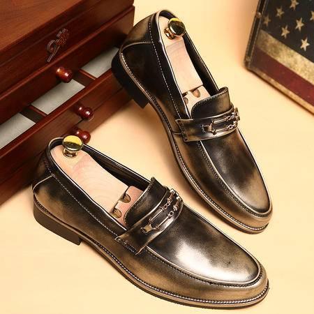 夏季男士皮鞋真皮英伦风尖头套脚鞋搭配小脚裤皮鞋发型师休闲鞋子