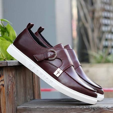 2016热门款男士休闲鞋亮面商务皮鞋复古潮款韩版英伦时尚百搭潮鞋